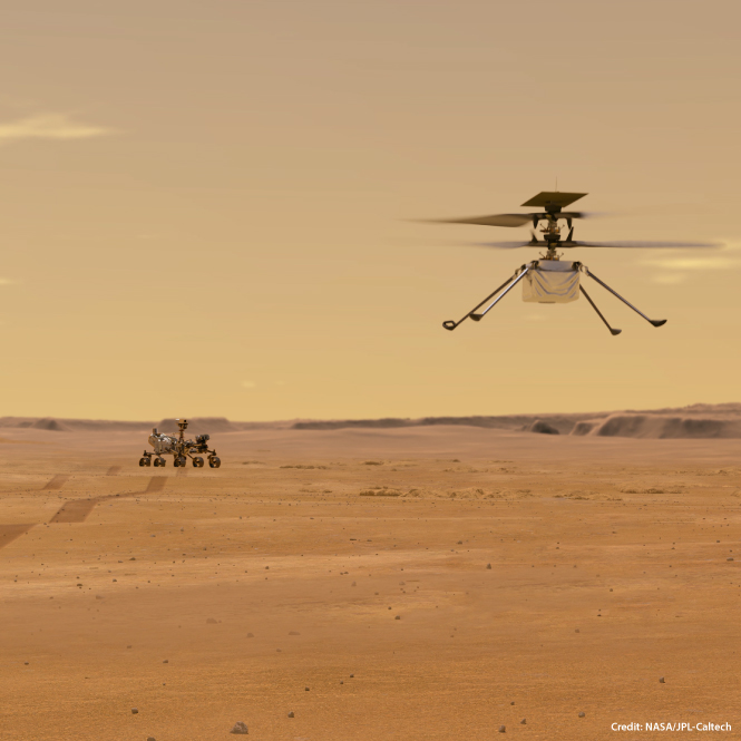 An illustration of Ingenuity flying on Mars with the Perseverance rover in the background